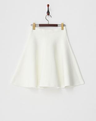 ホワイト ストレッチフレアスカート見る