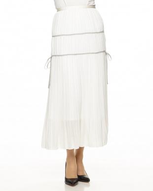 ホワイト  ランダムプリーツマキシスカート見る