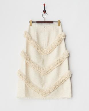 ホワイト  ツイードフリンジスカート見る