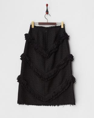 ブラック  ツイードフリンジスカート見る