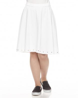 ホワイト  ミニ裏毛サーキュラースカート見る