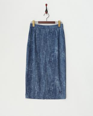 ブルー  ハイテンションデニムプリントスカート見る
