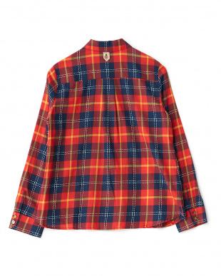 レッド 刺し子ウィンドペンチェックシャツ見る