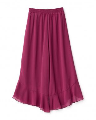 ピンク  裾フリルワイドパンツ見る