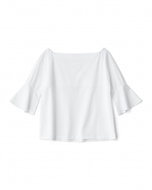 ホワイト  袖フレアカシュクール風Tシャツ見る