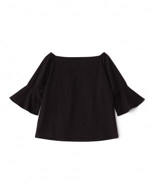 ブラック  袖フレアカシュクール風Tシャツ見る