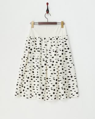 ホワイト 幾何系ドットタックプリーツスカート見る