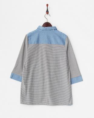 サックス 綿ボーダードッキングフラワー刺繍シャツ見る