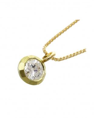 K18YG 天然ダイヤモンド 0.1ct マットベゼル 一粒ネックレス見る
