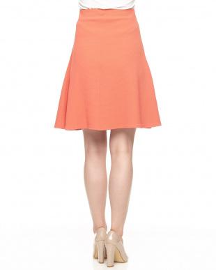 オレンジ バイアスストライプ織り地スカート見る
