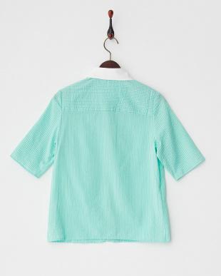 グリーン  ストライプクレリックシャツ見る