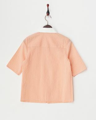 Orange  ストライプクレリックシャツ見る