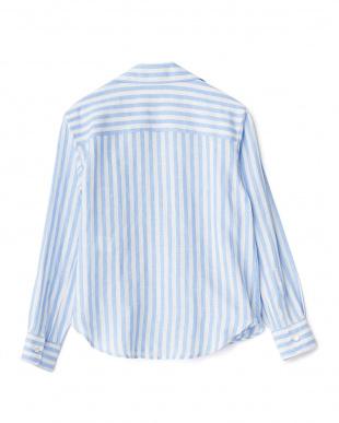 Sax Stripe  リネンカシュクールシャツ見る