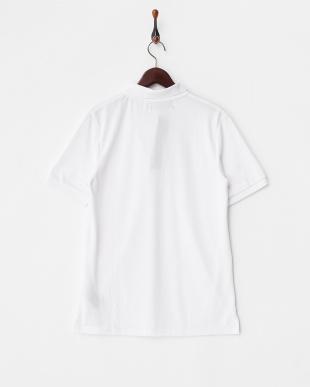 ホワイト  異素材前立てポロシャツ見る