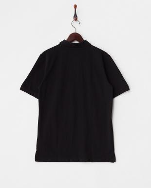 ブラック  異素材前立てポロシャツ見る