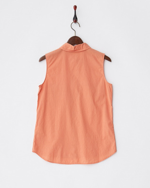 オレンジ コットンノースリーブシャツ見る
