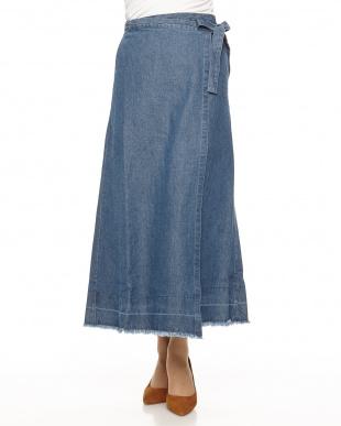 ブリーチ  綿麻デニム 巻きスカート見る
