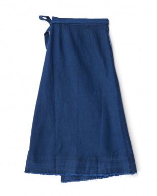 ワンウォッシュ  綿麻デニム 巻きスカート見る