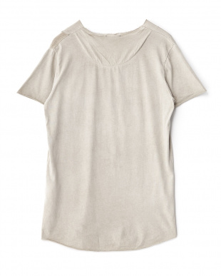 ベージュ ポケット付きリメイク風Tシャツ見る
