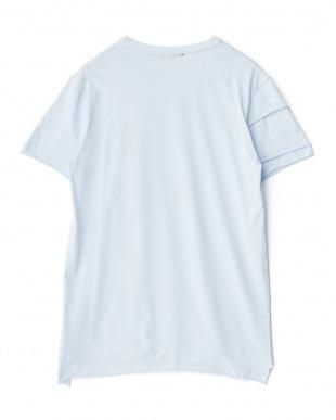 ライトブルー アンカープリント切り替えTシャツ見る