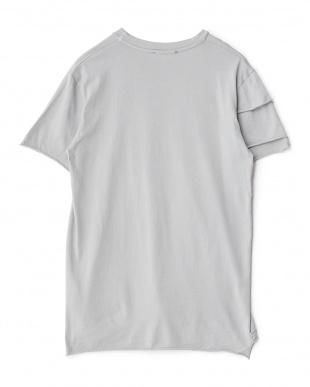グレー アンカープリント切り替えTシャツ見る