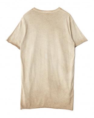 ベージュ 前後切り替えTシャツ見る