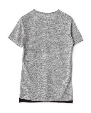 グレー 裾切り替えメランジニットTシャツ見る