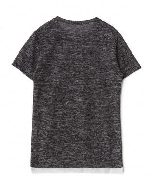 ブラック 裾切り替えメランジニットTシャツ見る