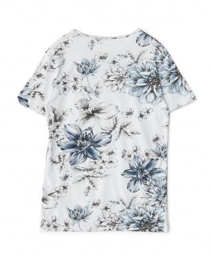 ブルーフラワー フラワー柄イラストTシャツ見る