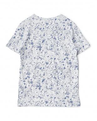 ブルーホワイト フラワースケッチTシャツ見る