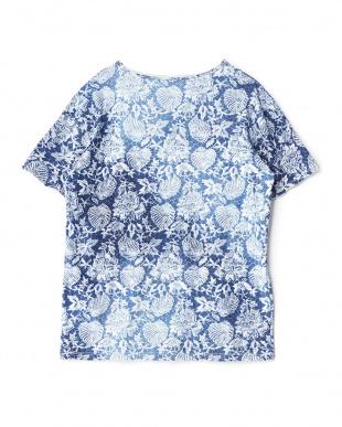 ブルー リーフ&フラワーTシャツ見る