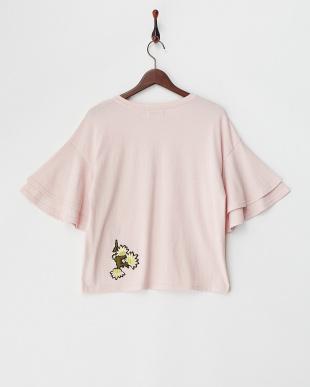 PINK  刺繍ワッペン付フレア袖Tシャツ見る