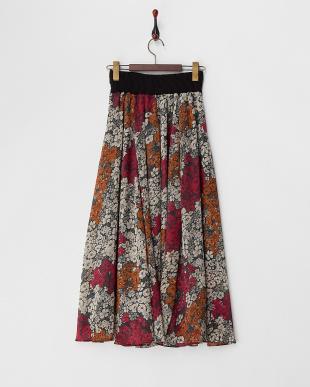 GREEN  シフォン花柄ロングスカート見る