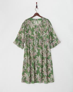GREEN  シフォン花柄ロングガウンドレス見る