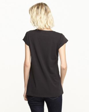 ブラック ラメプリントコンビTシャツ見る