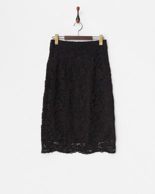 ブラック  リバーシブルレースタイトスカート見る