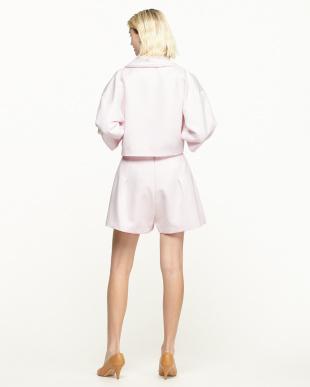 ピンク ワイド袖ジャケット+ショートパンツセットアップ見る