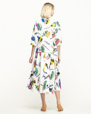 ホワイト カシュクールトップス+タック入りグログランスカート見る