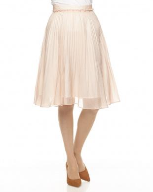 ピンク オーガンジープリーツスカート見る