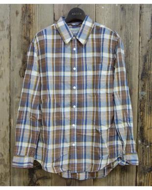 ブルー  C/R/L チェックシャツ|MEN見る