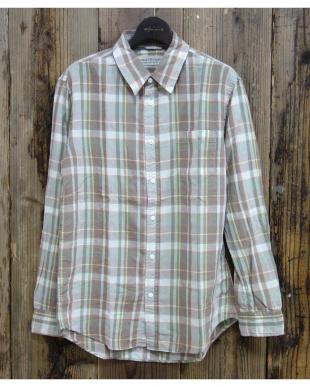 ベージュ  C/R/L チェックシャツ|MEN見る