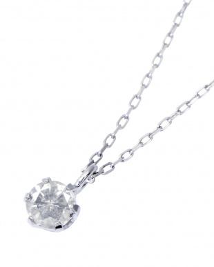 K18WG 天然ダイヤモンド 0.1ct 6本爪一粒ネックレス見る