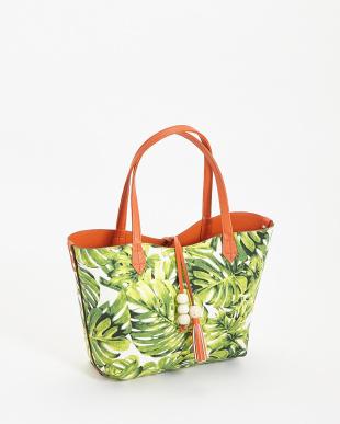 オレンジ 無地×植物柄リバーシブルトートバッグ見る