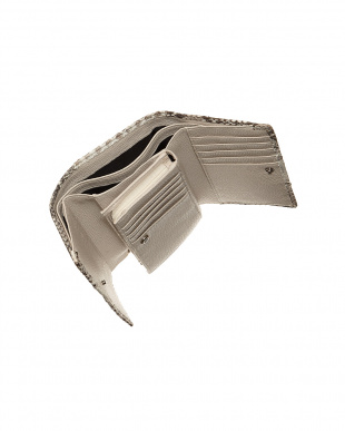 ナチュラル  パイソンレザー 3つ折り財布見る