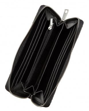 ブラック  ラウンドファスナー クロコ型押し長財布見る