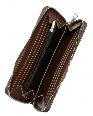 ブラウン  ラウンドファスナー クロコ型押し長財布見る