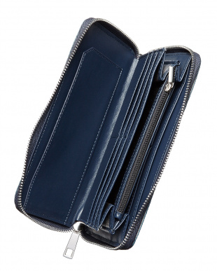 ブルー  ラウンドファスナー パイソン型押し長財布見る