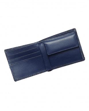 ネイビー  パイソン折財布見る