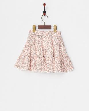 ピンク  フラワーティアードスカート見る