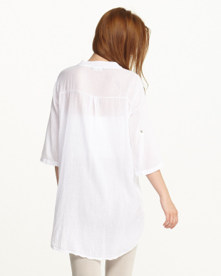 ホワイト 袖ループ付きフラミンゴプリントシャツ見る